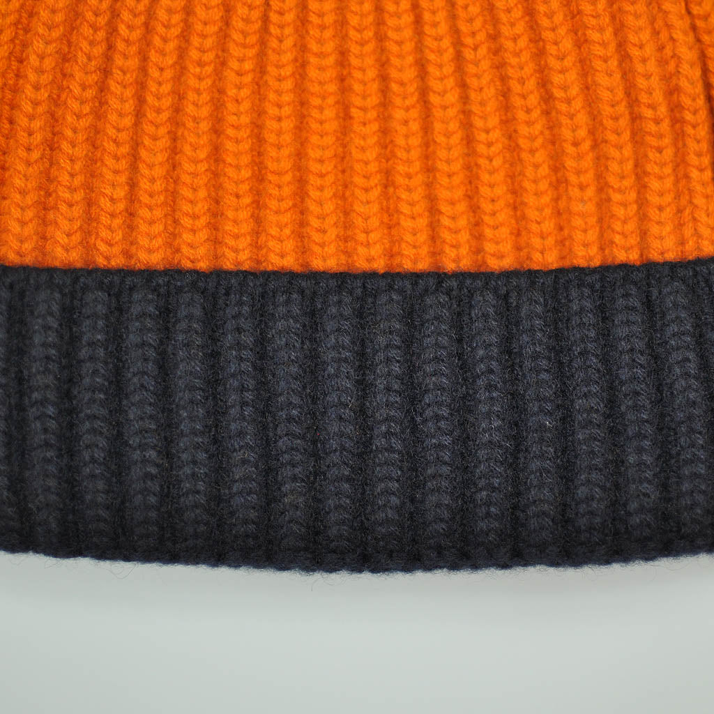 Four Ply Cashmere Winter Beanie in Orange & Navy