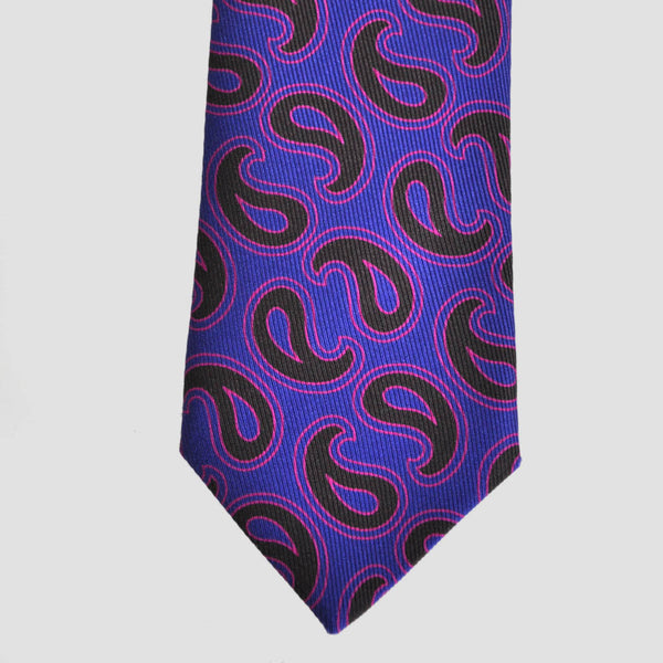 English 50oz Printed Silk Paisley Teardrop Tie