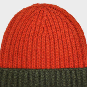 Four Ply Cashmere Winter Beanie in Red & Olive