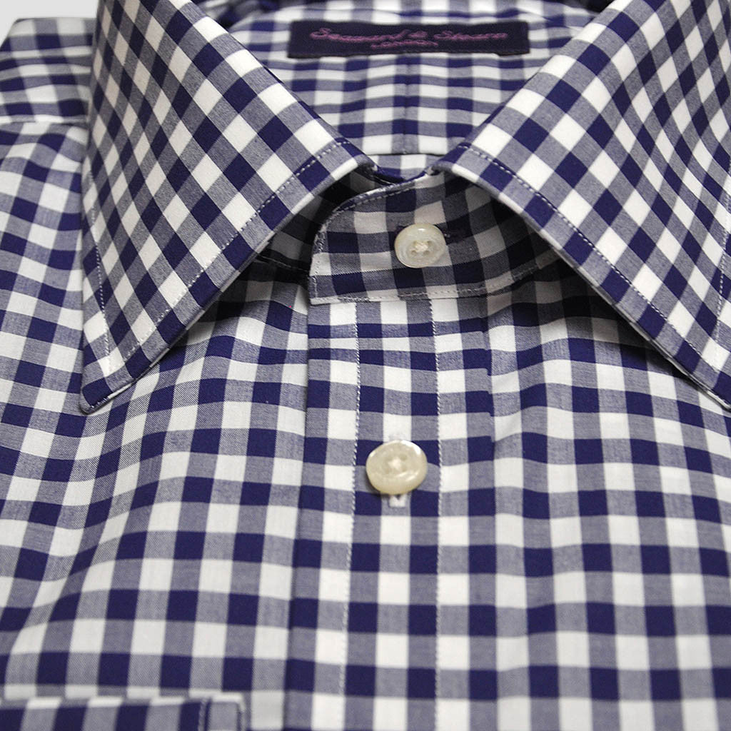 Classic Collar Navy Gingham Cotton Shirt
