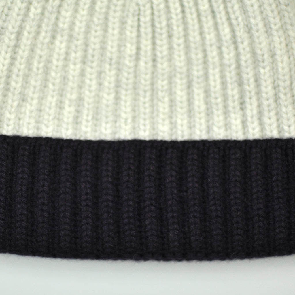 Four Ply Cashmere Winter Beanie in Ivory & Deep Purple