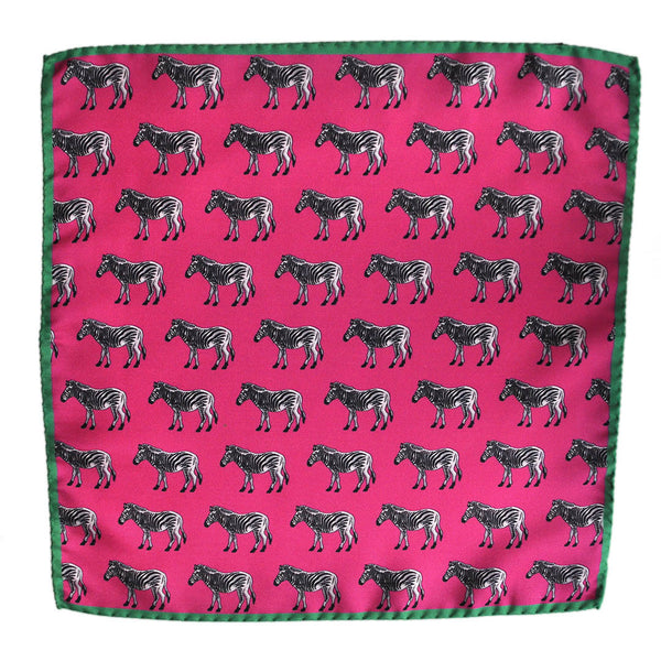English Silk Zebra Pocket Square