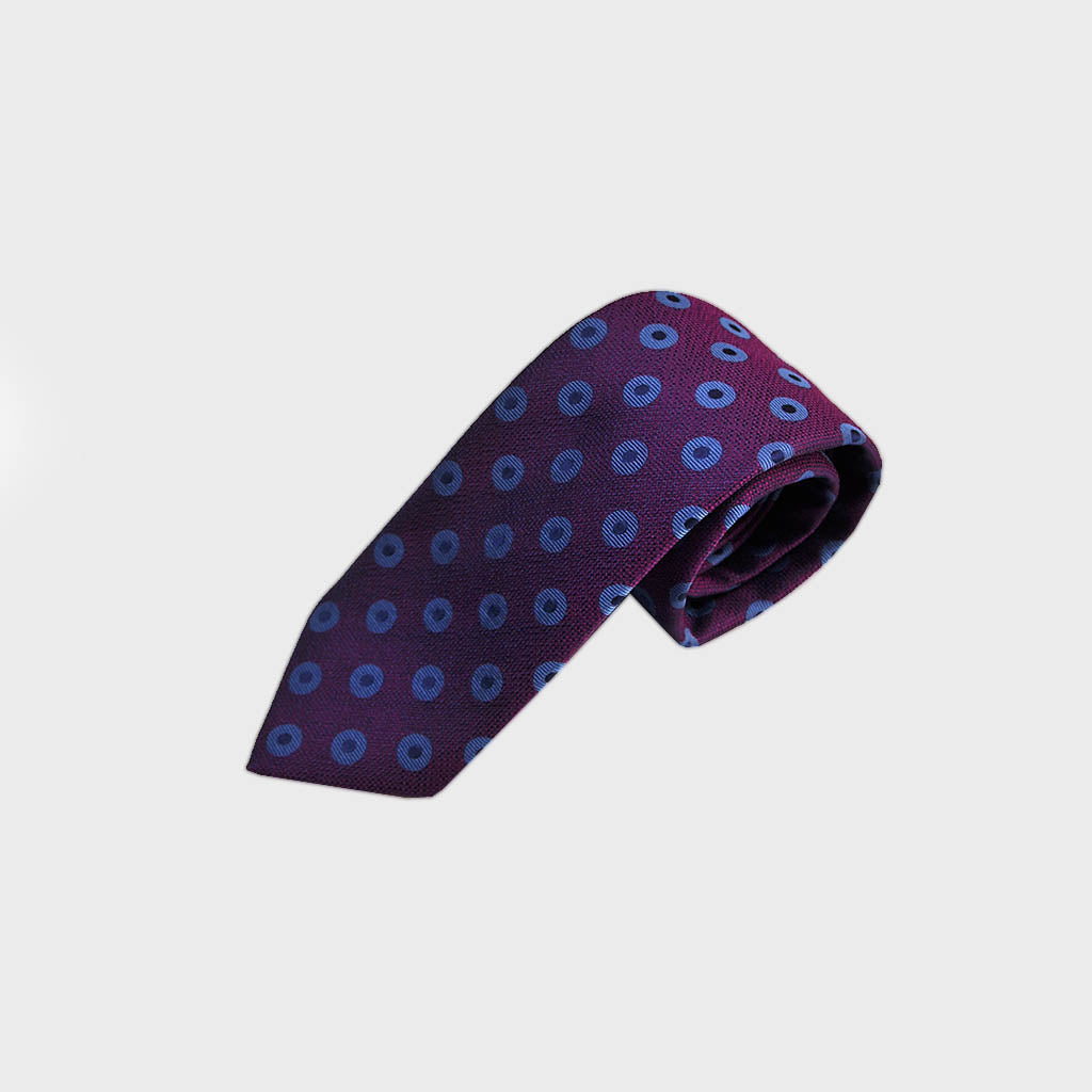 Hoops Woven Silk Bottle Neck Tie in Purple, Blue & Navy