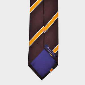 Stripes Bottle Neck Silk Tie in Brown, Gold & White