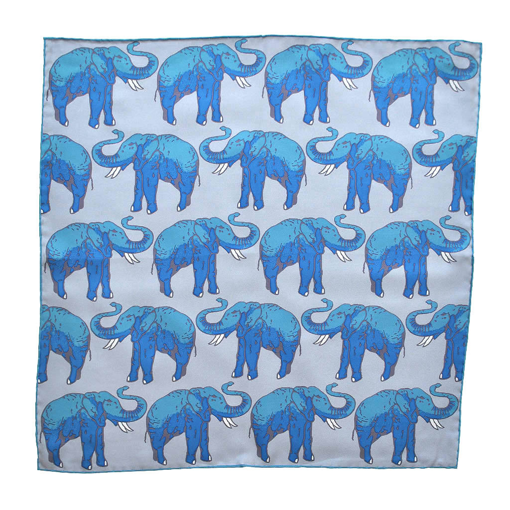 English Silk 'Parade of the Elephants' Pocket Square in Light Blue Tones