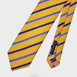 Classic Stripes Bottle Neck Natte Silk Tie in Gold & Blue
