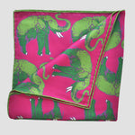 English Silk 'Parade of the Elephants' Pocket Square in Lime & Pink