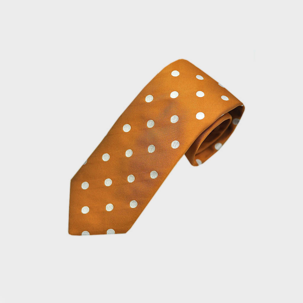 Classic Spots Silk Tie in Gold