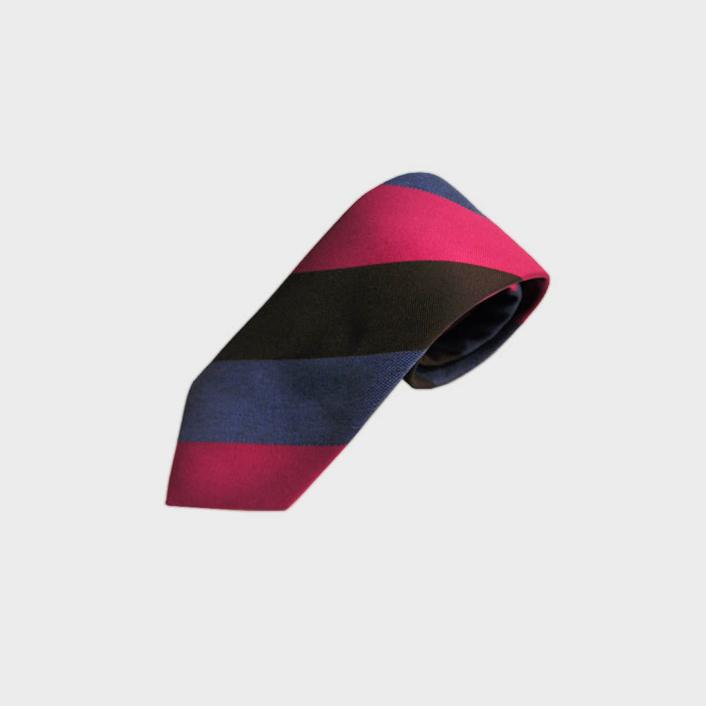 Block Stripes Woven Silk Tie in Blue, Brown & Pink