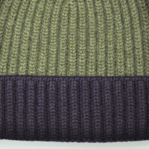 Four Ply Cashmere Winter Beanie in Olive & Purple