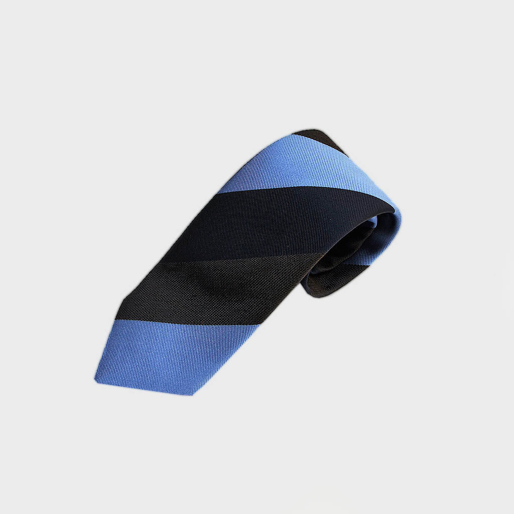 Block Stripes Woven Silk Tie in Navy, Blue & Brown