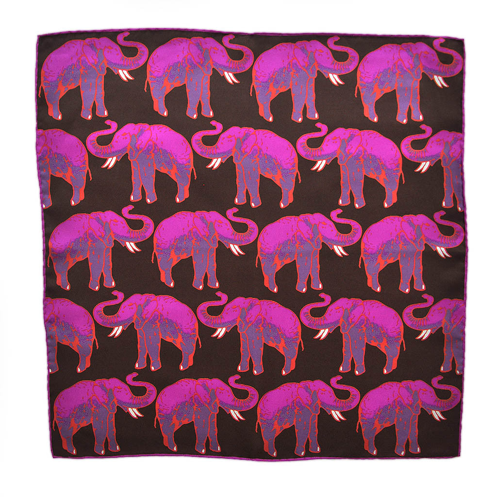 English Silk 'Parade of the Elephants' Pocket Square in Pink & Brown