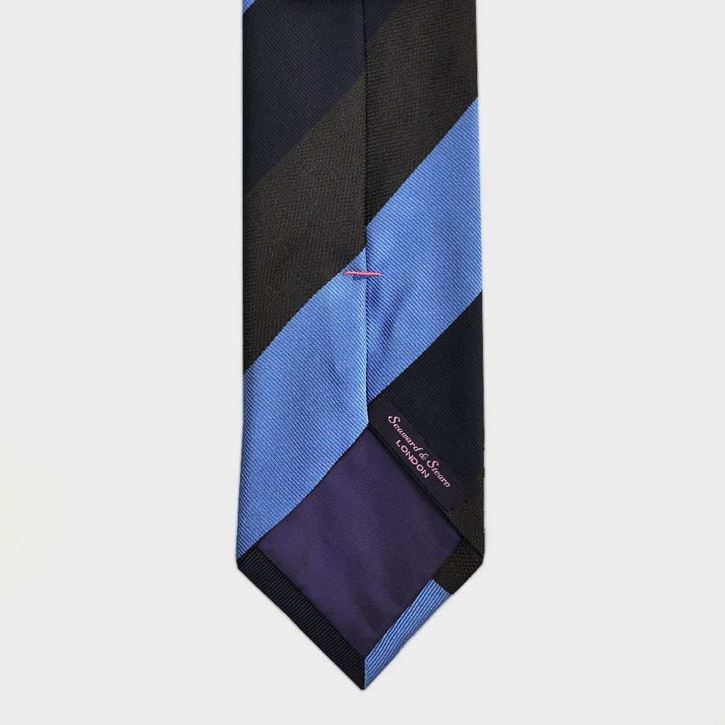 Block Stripes Woven Silk Bottle Neck Tie in Navy, Blue & Brown