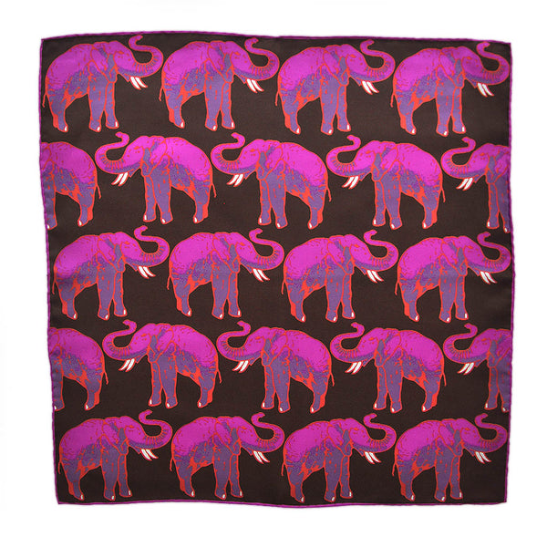 English Silk 'Parade of the Elephants' Pocket Square