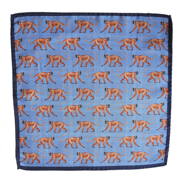 English Silk Cheeky Monkey Pocket Square