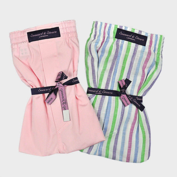 Cotton Boxer Short Bundle Plain Pink and Stripes