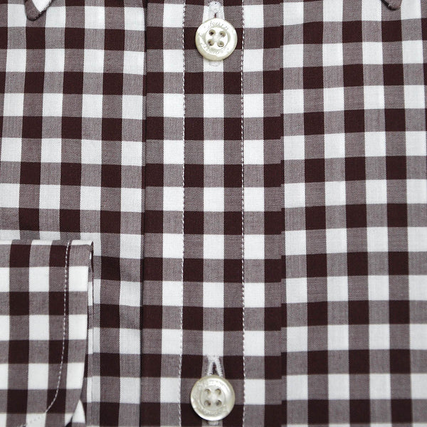 Button Down Collar Brown Gingham Cotton Shirt