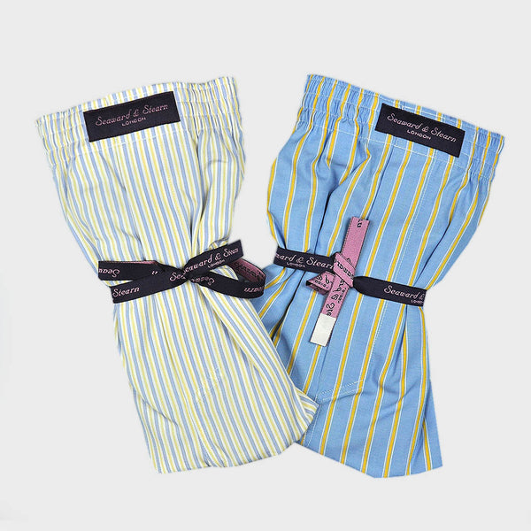 Cotton Boxer Short Bundle with Narrow Coloured Stripes