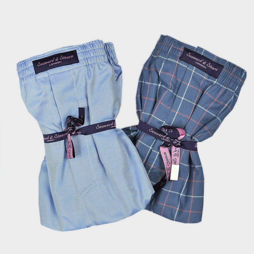 Double Cotton Boxer Short Bundle Plain Rib and Window Pane