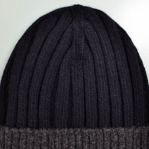 Wool Beanie in Navy Blue & Charcoal