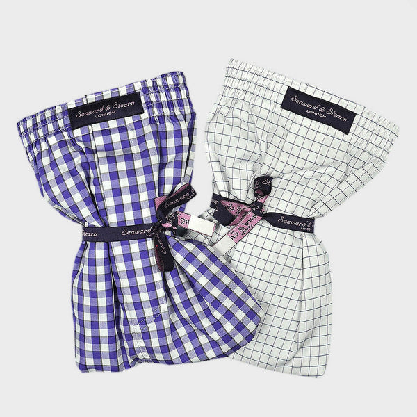 Cotton Boxer Short Bundle Gingham and Window Pane Check