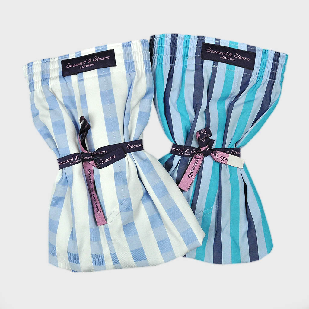 Cotton Boxer Short Bundle in Cool Blues