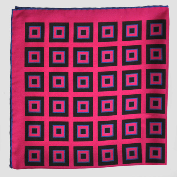 English Silk Geometric Squares Pocket Square