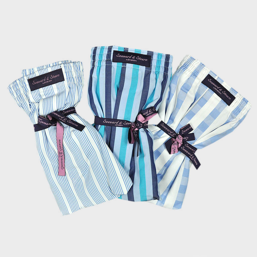 Triple Cotton Boxer Short Bundle of Blue & Stripes