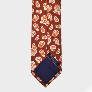 Shapes of Paisley Silk Tie in Rusty Brown