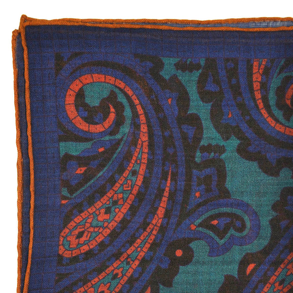 Big Paisley Wool & Silk Pocket Square in Blue & Teal