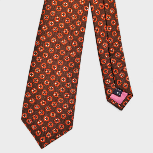 Brown & Terracotta Elegant Floret Repeat Silk Tie