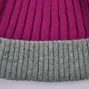 Wool Beanie in Pink & Grey