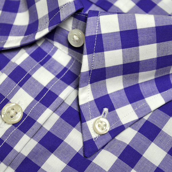 Button Down Collar Violet Gingham Cotton Shirt
