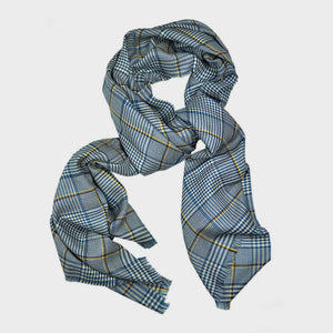 Ultra Fine Cashmere & Wool Check Scarf in Blue