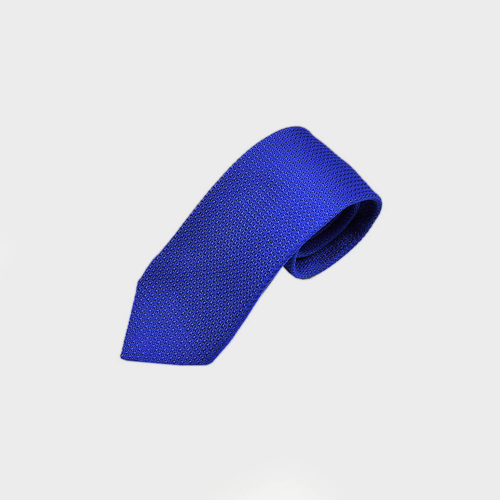 Classic Grenadine Bottle Neck Silk Tie in Royal Blue