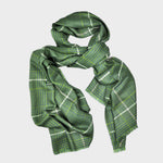 Ultra Fine Cashmere & Wool Check Scarf in Green