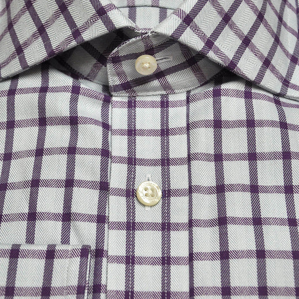 Spread Collar Check Cotton Shirt