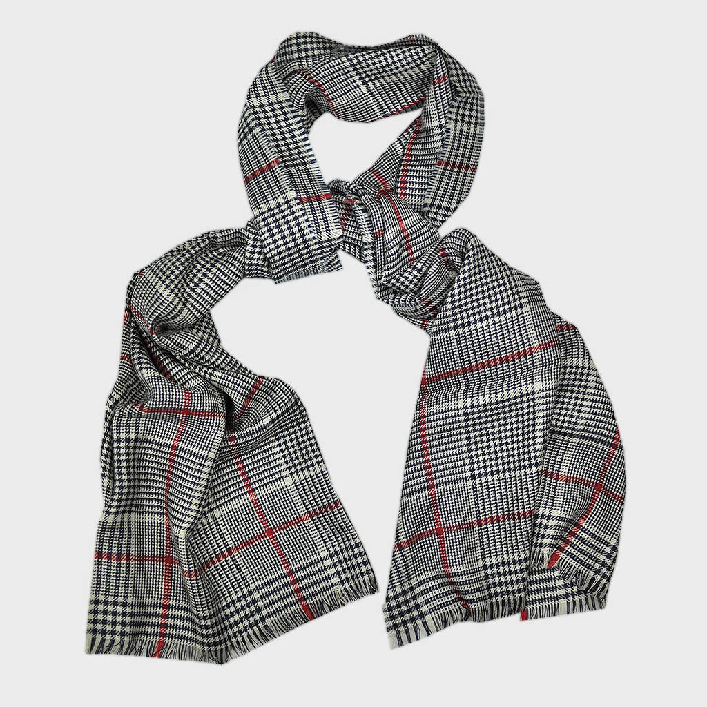 Ultra Fine Cashmere & Wool Check Scarf in Midnight Blue with a Flash of Red