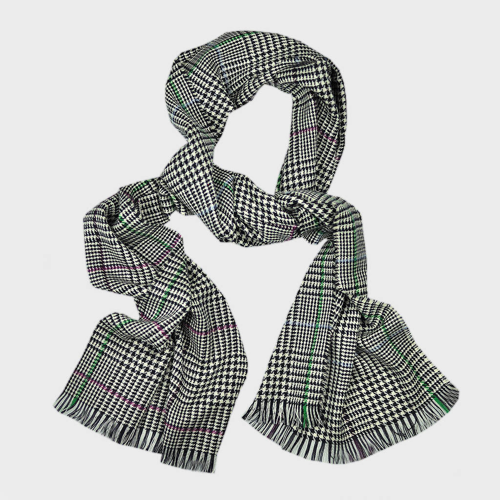 Wool Check Scarf in Midnight Blue with flashes of Green & Pink