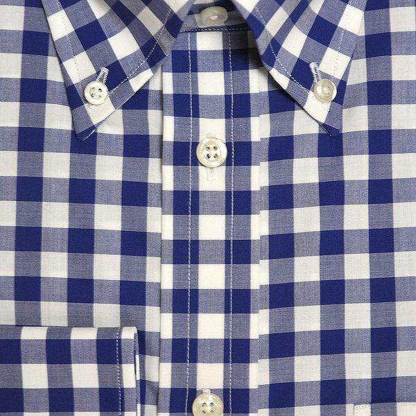 Button Down Collar Royal Blue Gingham Cotton Shirt