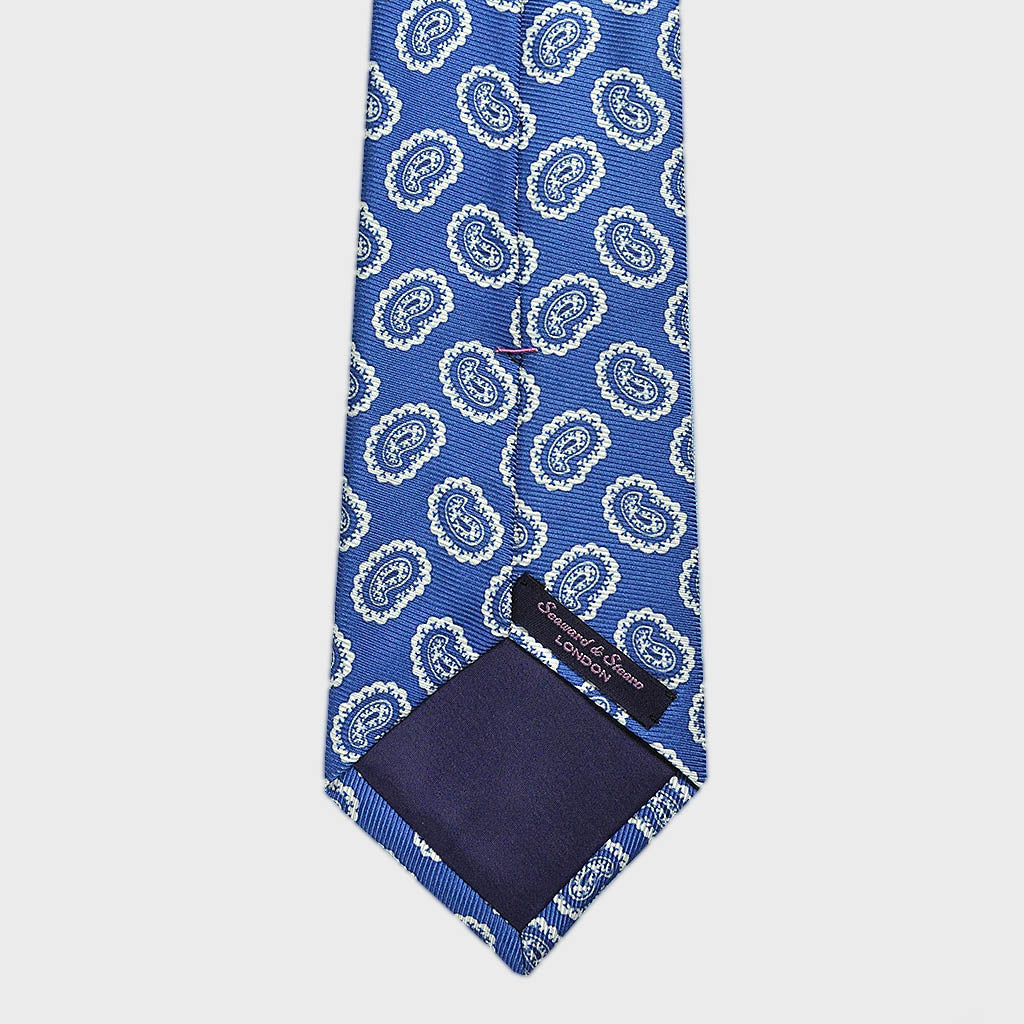 True Blue Paisley Teardrop Silk Tie