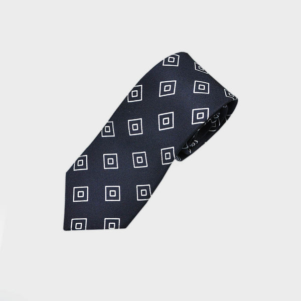 Diamond Geo Repeat Reppe Silk Tie in Navy