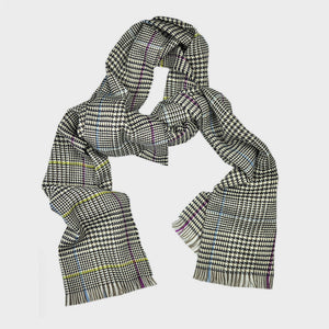 Wool Check Scarf in Midnight Blue with Flashes of Blue, Yellow & Pink