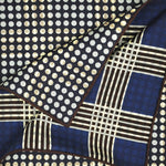 Reversible Dots & Checks Panama Silk Pocket Square in Navy & Brown