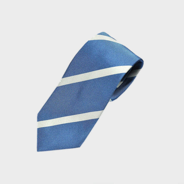 Narrow Stripe Reppe Silk Tie in Sky Blue & White