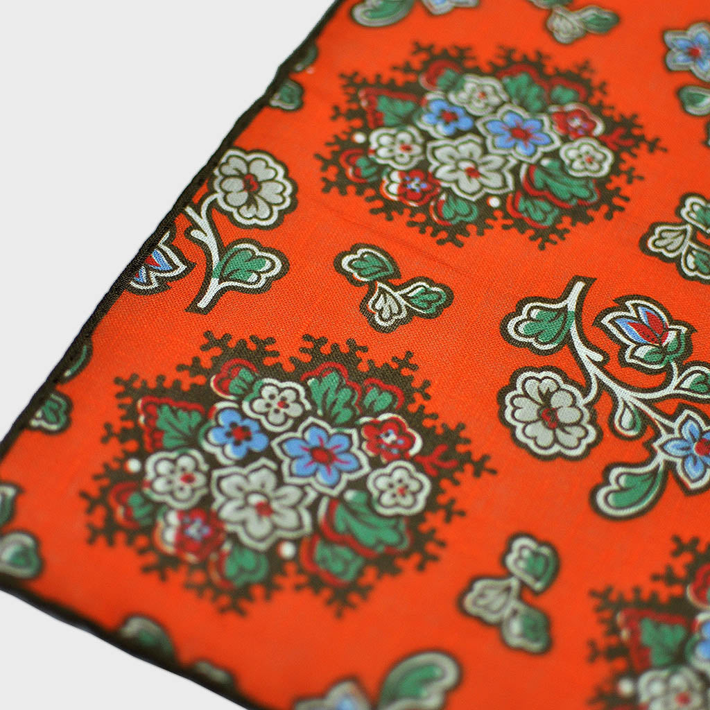 Flowers in Bloom Linen Pocket Square in Orange