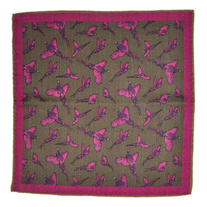 Italian Wool Reversible Pheasant Pocket Square in Muted Pink & Olive
