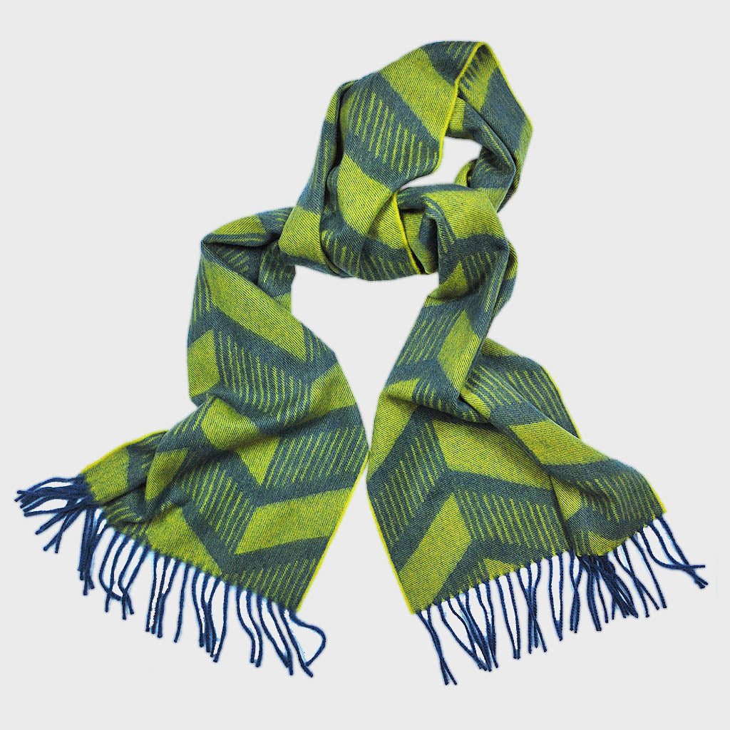 Jazzy Chevron Winter Scarf in Lime & Blue