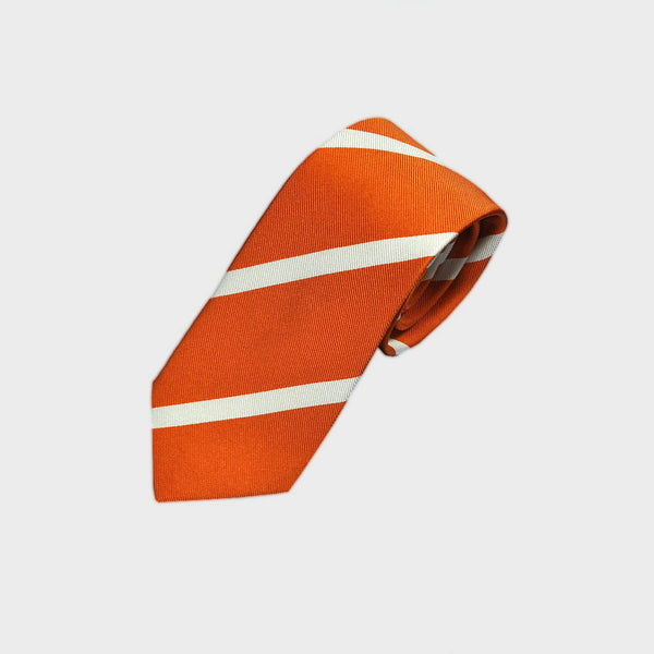 Narrow Stripe Reppe Silk Tie in Sky Orange & White
