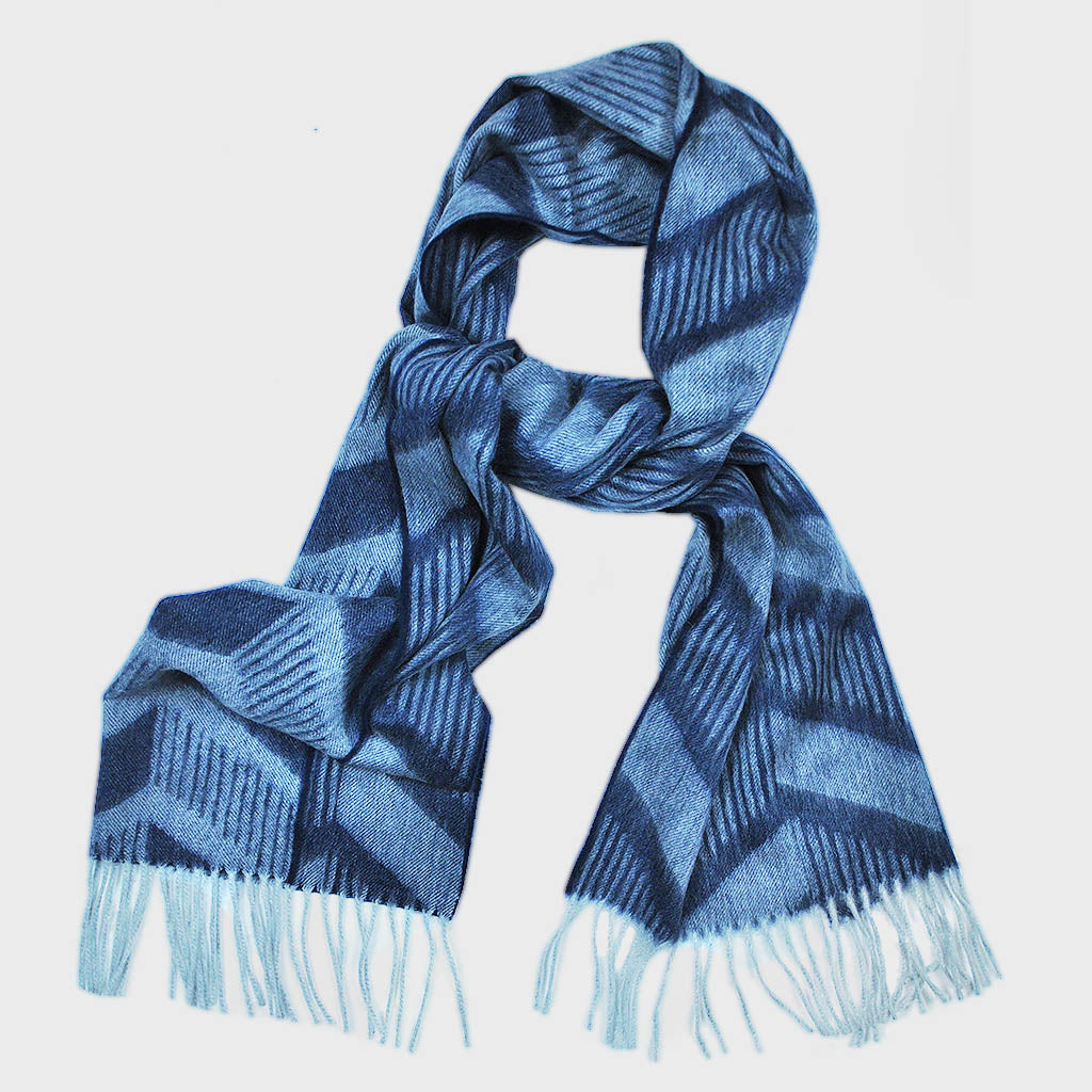 Jazzy Chevron Winter Scarf in Navy & Blue